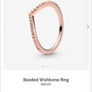 Pandora beaded wishbone ring
